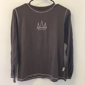 Brown Life is Good long sleeve t-shirt